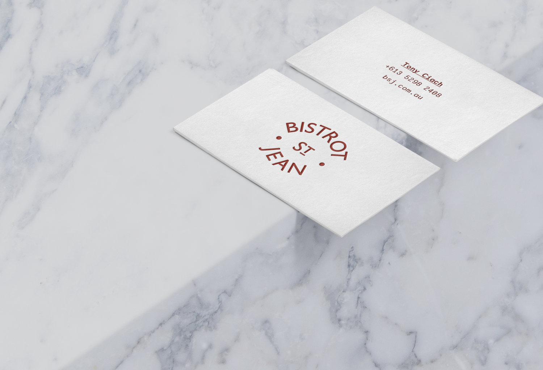 Bistrot st jean restaurant branding cass mackenzie restaurant branding geelong business card graphic design reheart Choice Image