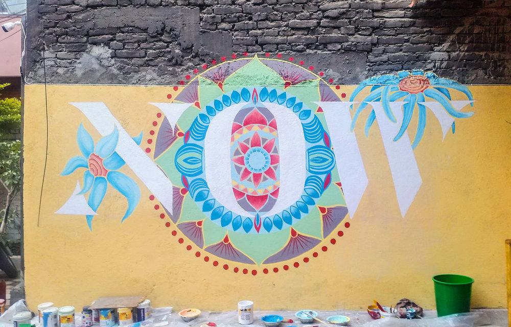 Wall mural illustration artist