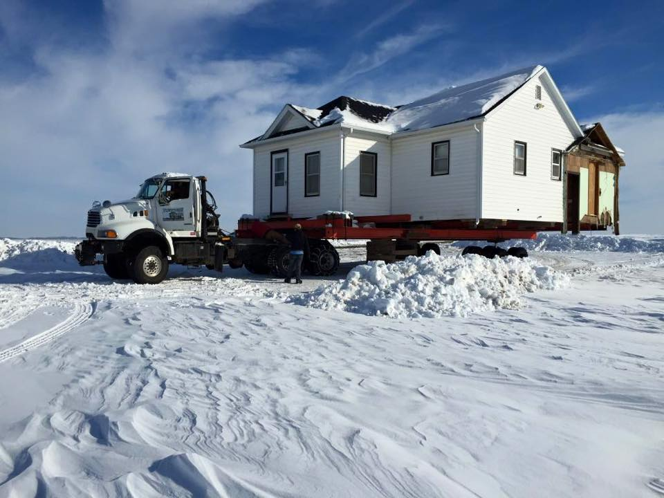 A house move in Dysart, Iowa