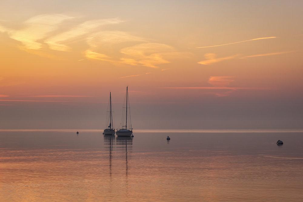 Beautiful Pre-Sunrise Light along the Beach at Mersea Island.
