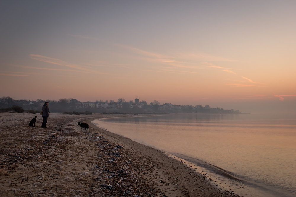 Local Photographer Colin Westgate and his dogs enjoying the delightful dawn light.