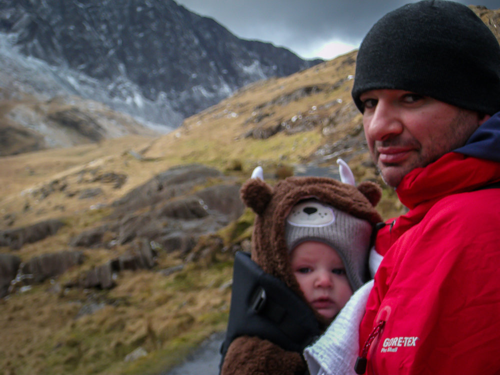 Maybe a little young for a Snowdon summit in winter!