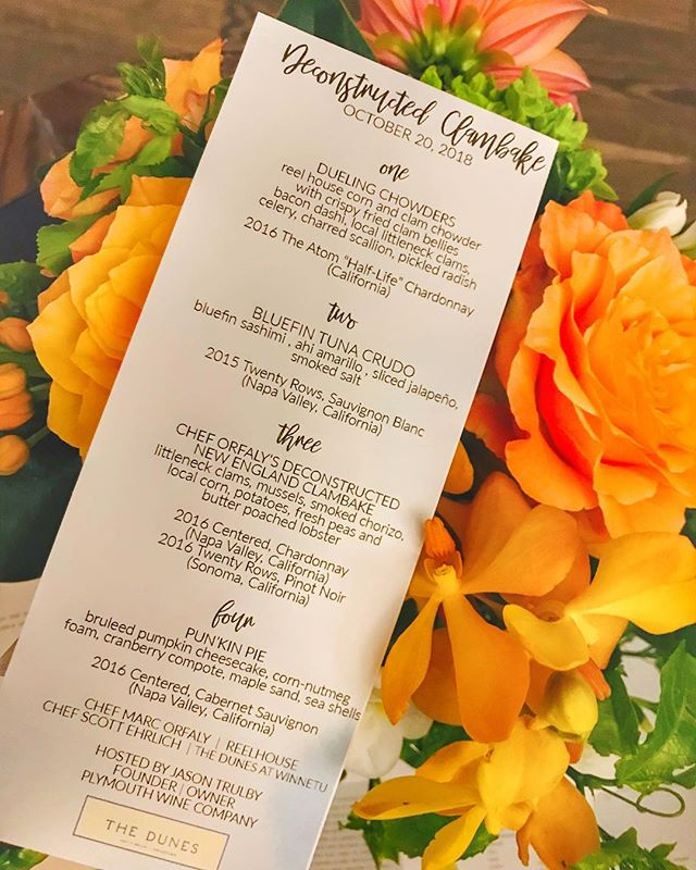 And tonight among our wine dinners, is a very special one at @winnetu.mv - Deconstructed Clambake where the chefs from @reelhouseboston & @thedunesmv will be cooking up a storm! Check out this amazing menu #mvfoodandwine #marthasvineyard #clambake #newenglandclambake #newengland