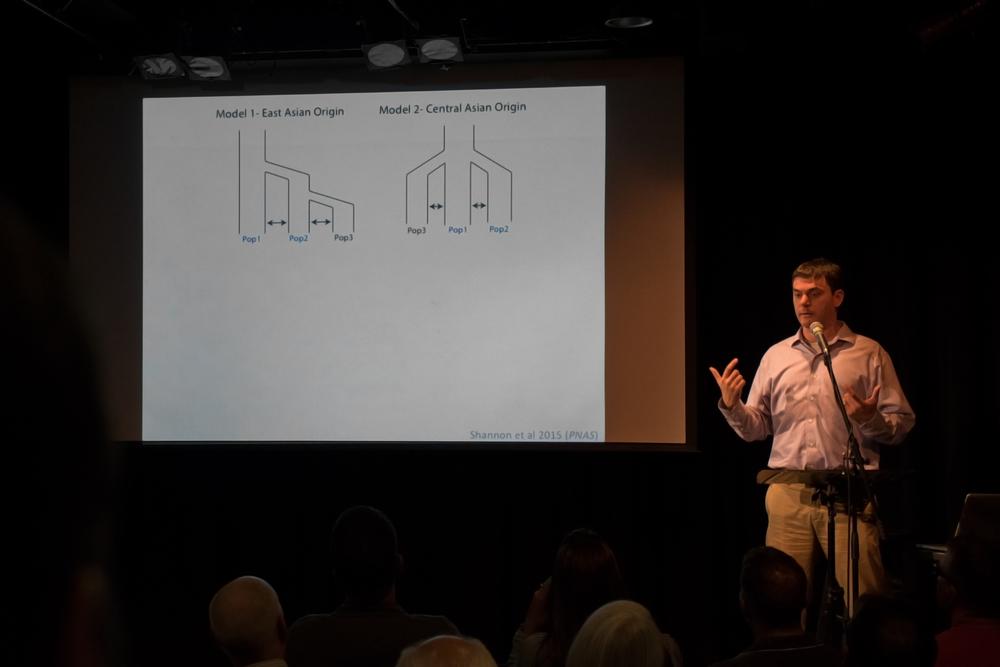 Dr. Adam Boyko demonstrating the origination of the dog