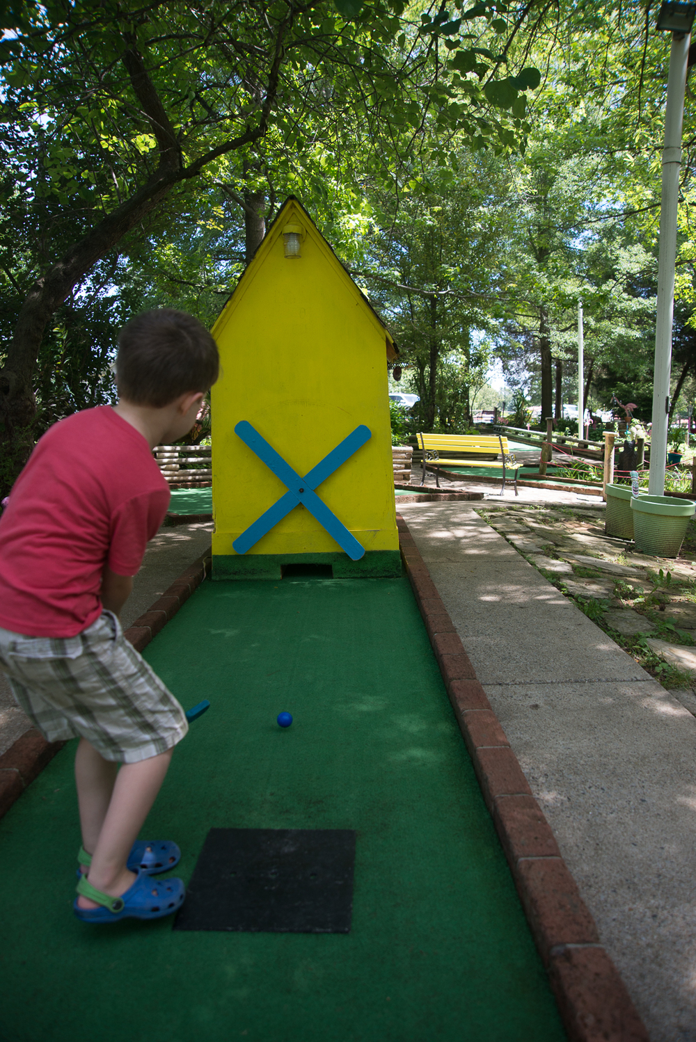 And of course, no trip would be complete to start the summer off right without THREE putt-putt golf adventures. Forgotten Past, The 19th Hole at Patti's and Maggie's Jungle Golf. I still am no good but the boys did great.