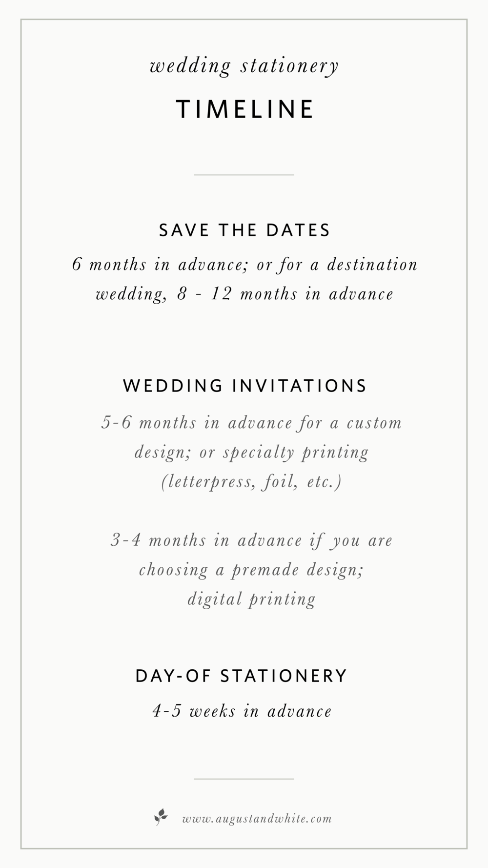 when to order wedding stationery august white