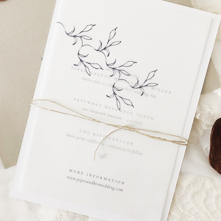 vellum OVERLAYS   Sheer paper used for additional info and adds a touch of elegance to your stationery