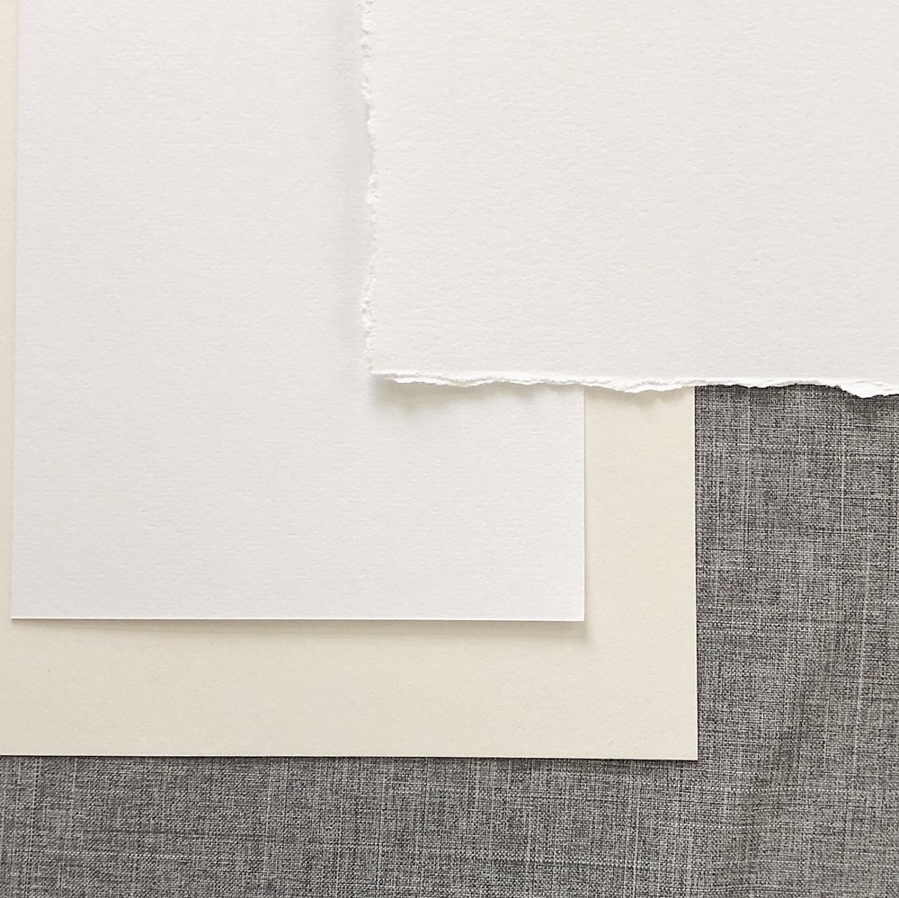 Cotton paper   Luxurious to the touch, our 118 lb. soft cotton stock offers a clean and high end feel to your stationery. Available in white or ivory, this paper is a perfect choice for wedding stationery and can come with straight or hand torn edging.