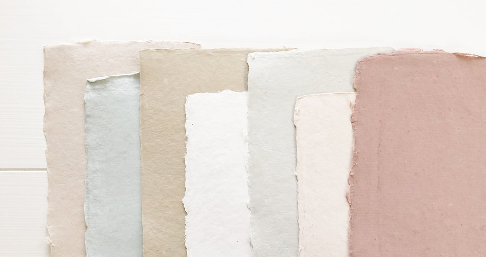 handmade paper   Our handmade paper features natural deckled edging, for the couple looking for a more vintage and romantic feel. Available in multiple color options!  Sand, Lake, Wheat, Cream, Haze, Powder Pink, Rose