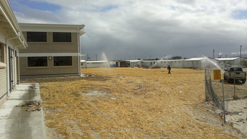 Irrigation of newly-seeded sports field at school in Delft.