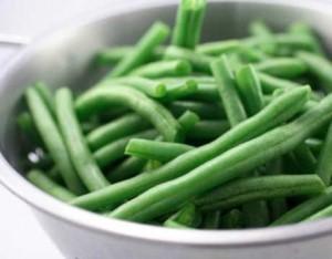Chopped and de-stemmed green beans.