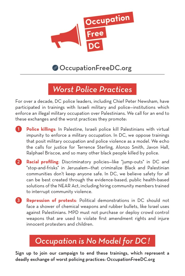 Informational Quarter Sheet - Occupation Free DC Campaign