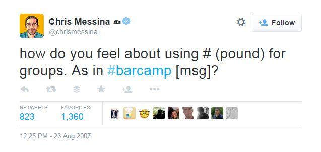 Chris Messina Hashtag Tweet - Cara Chace