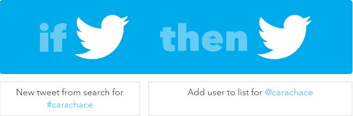 IFTTT recipe Twitter hashtag to Twitter list - Cara Chace