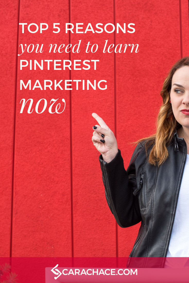 Have you been putting off learning how to use Pinterest for your business? Don't wait any longer or you might miss the boat. Here are the top 5 reasons you need to learn Pinterest marketing now. If you're an online entrepreneur or small business owner, you CAN create a marketing strategy, and Pinterest PowerUp will help you do it. #carachace #pinterestmarketing