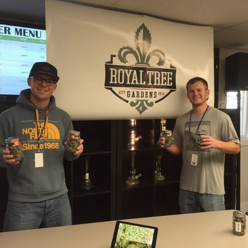 Max and Charlie, Royal Tree Garden's lead growers, double fist a couple ounces of their premium cannabis in celebration of the 420 holiday.