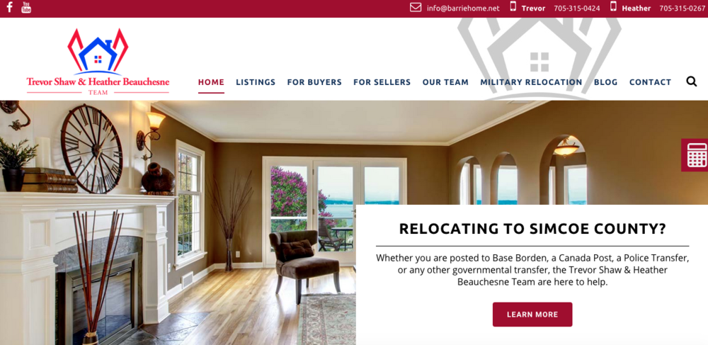Here's a look at what you see above the fold when going to BarrieHome.net