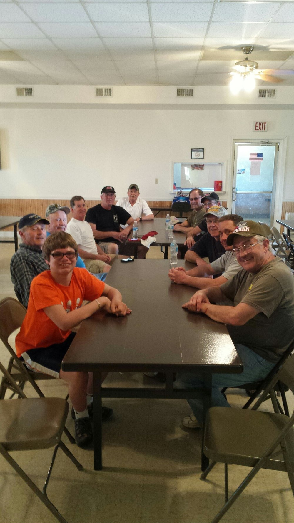 The crew being treated to an outstanding brunch, provided by Jim Hamilton, his son, and fellow members of the Sullivan VFW.