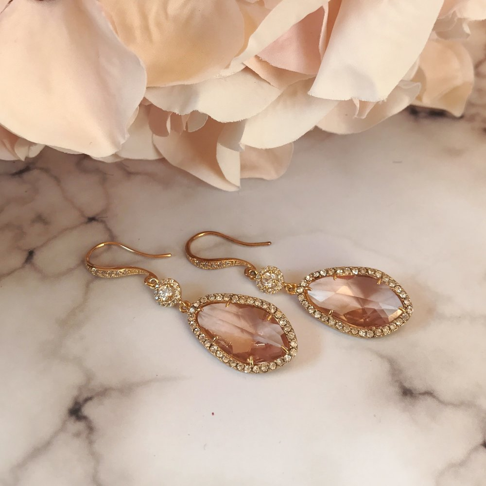 Rose Champagne Crystal and Gold Earrings