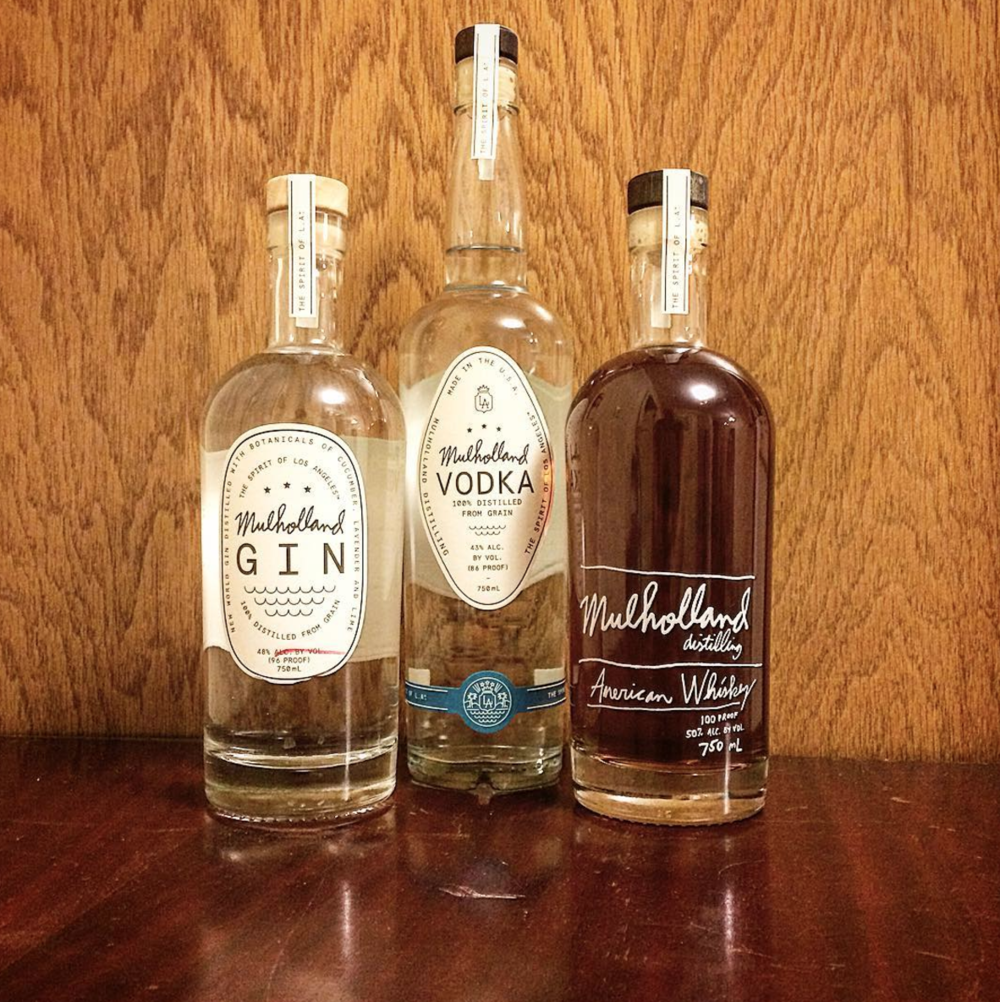 Gin, vodka, and whiskey from Mulholland Distilling in Los Angeles. Alcademics