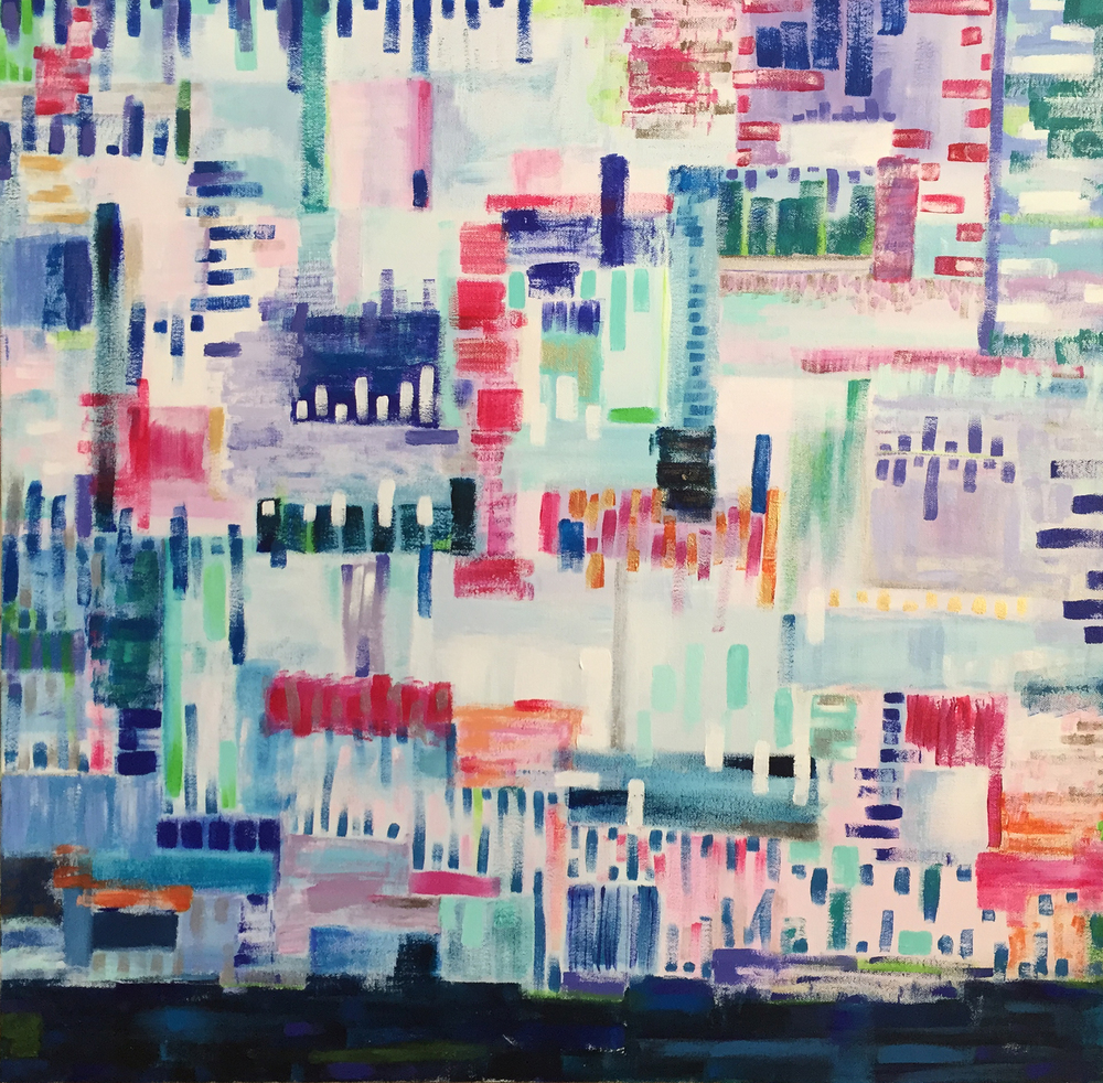 sea cliff city, 30 x 30, acrylic on canvas