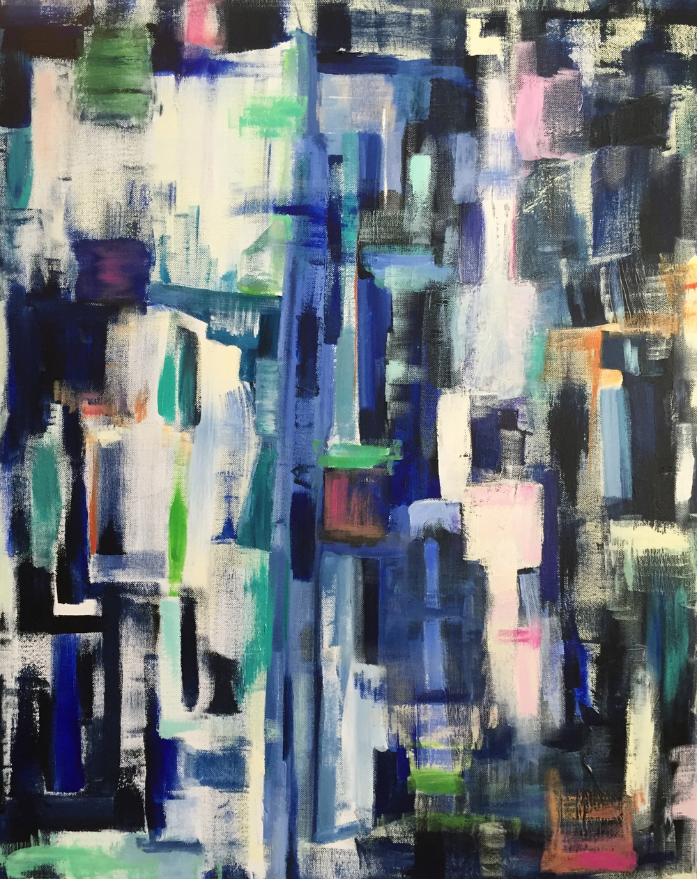 city blues from above - 24x30, acrylic on canvas
