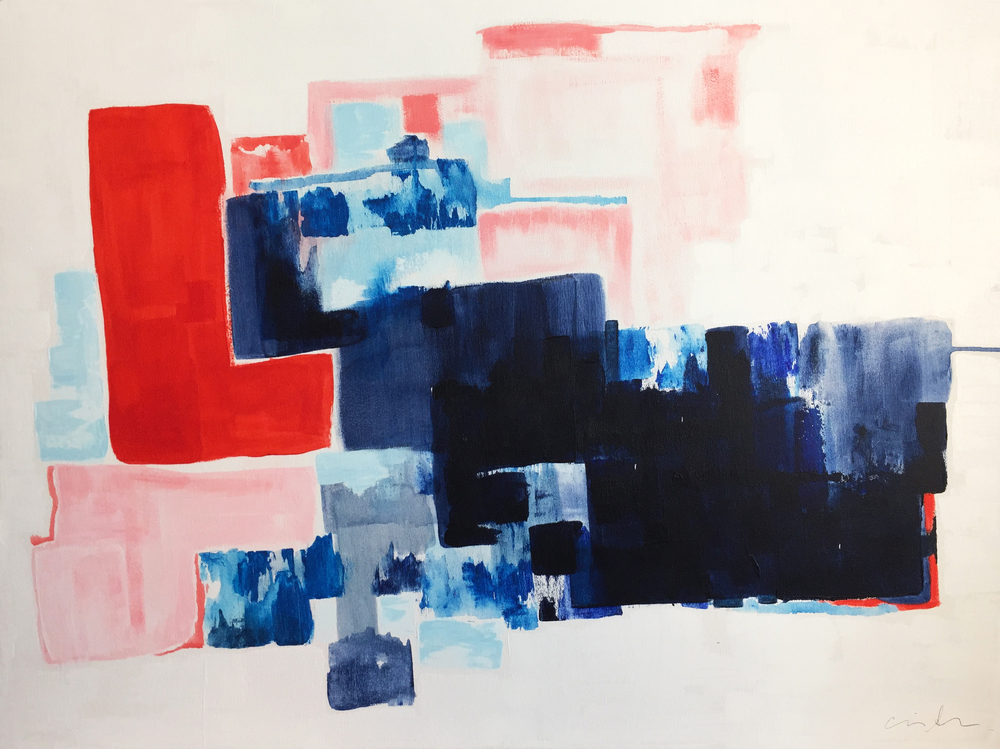 red over blue, 30 x 40, pigment and acrylic on canvas