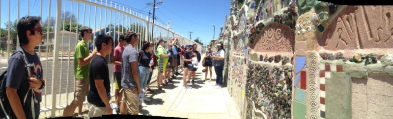Peace camp participants visit the Watts Tower (photo by Sue Park-Hur)