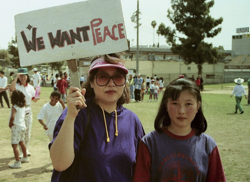 Peace gathering at Ardmore Park (now Seoul International Park) few days after the LA Uprising/Riot (photo by John Yu)