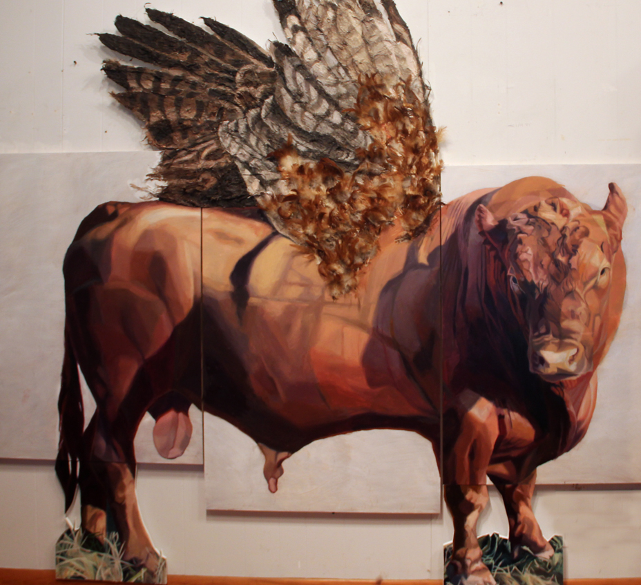 """Winged Bull"", 7x8 feet, mixed media on panel and foam board, 2016"