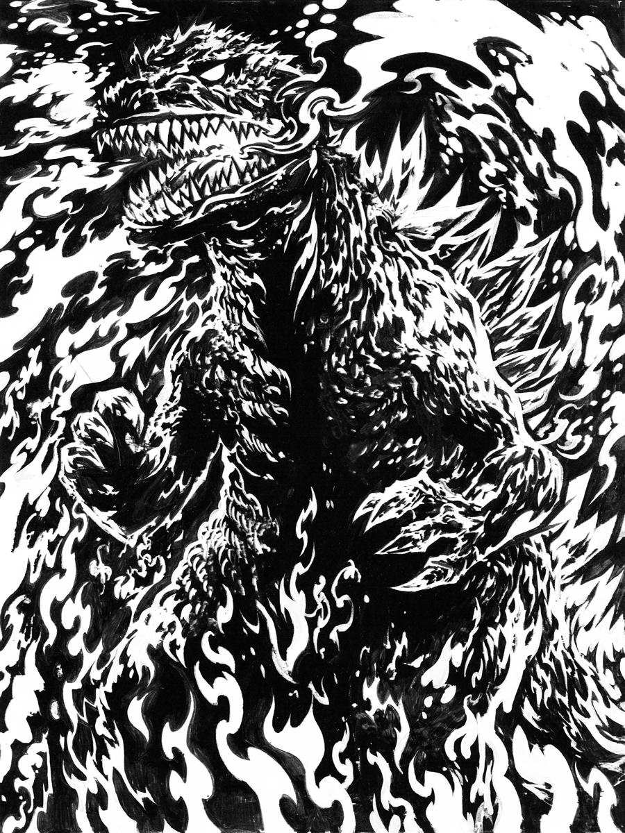Raw Gojira line/dark layer.