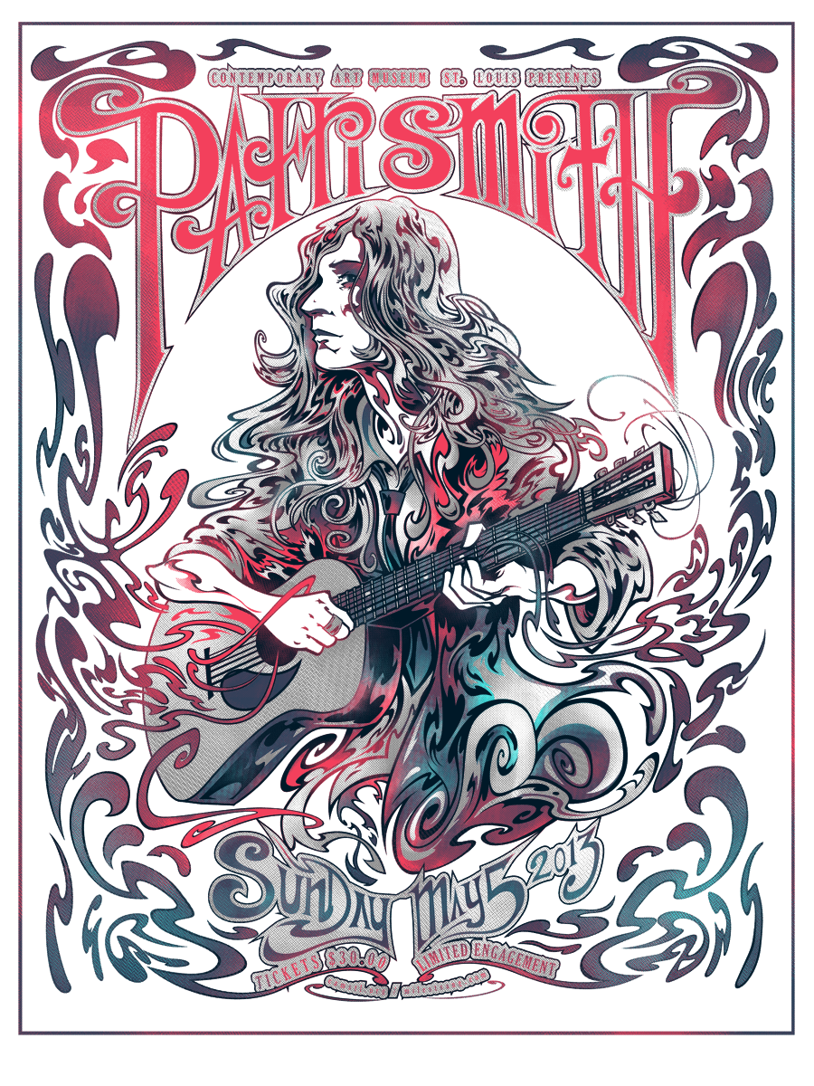 The finalized Patti Smith gig poster with textures added.