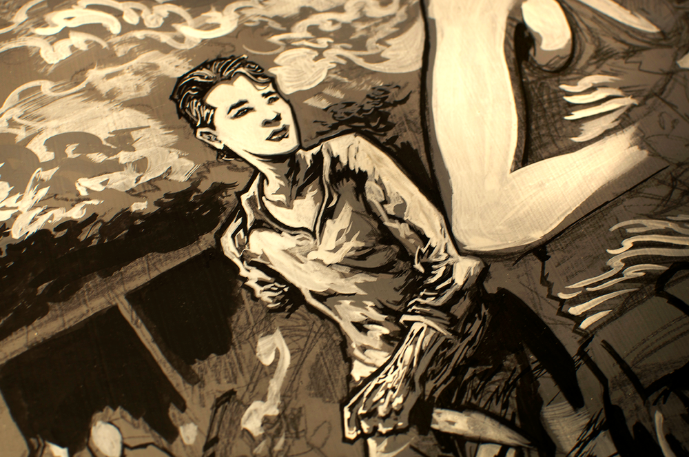 Glenn Rhee of The Walking Dead process close-up.