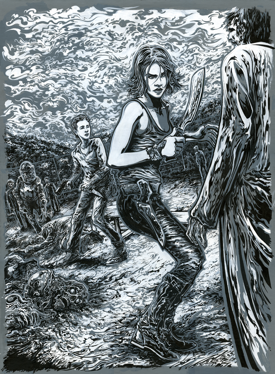 The Walking Dead Semi-Composite Monochrome Key Drawing.