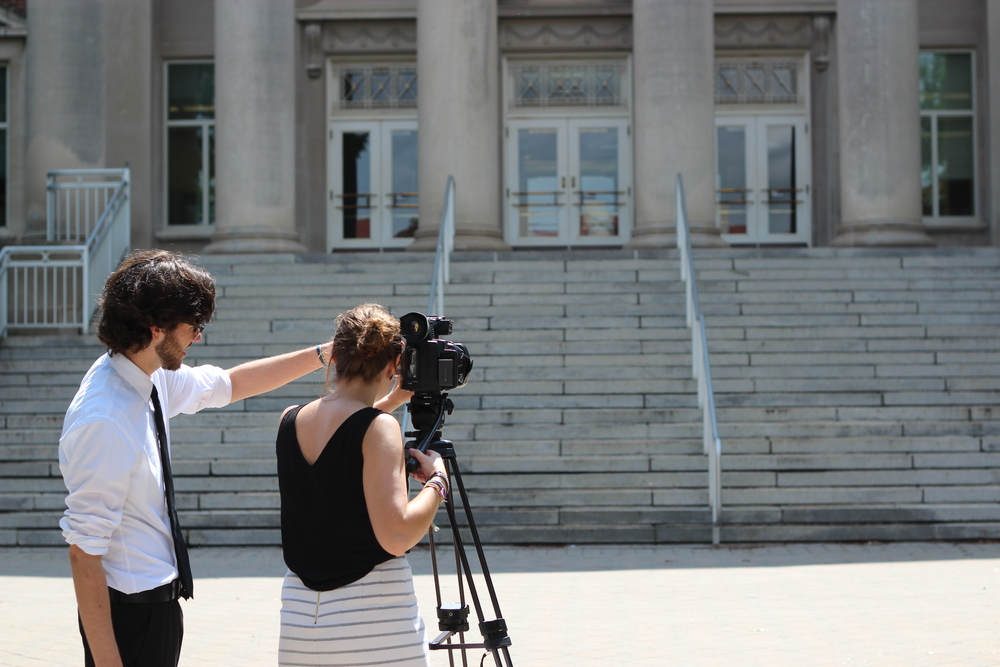These Four Years' producers, Evan (left) and Jasper (right), film b-roll of Purdue University's campus life.