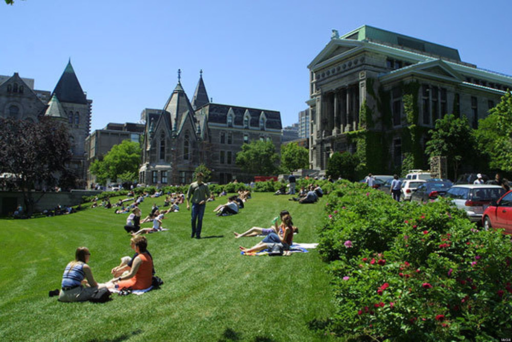 Students lounge and socialize on campus at McGill University in Montreal, Canada.