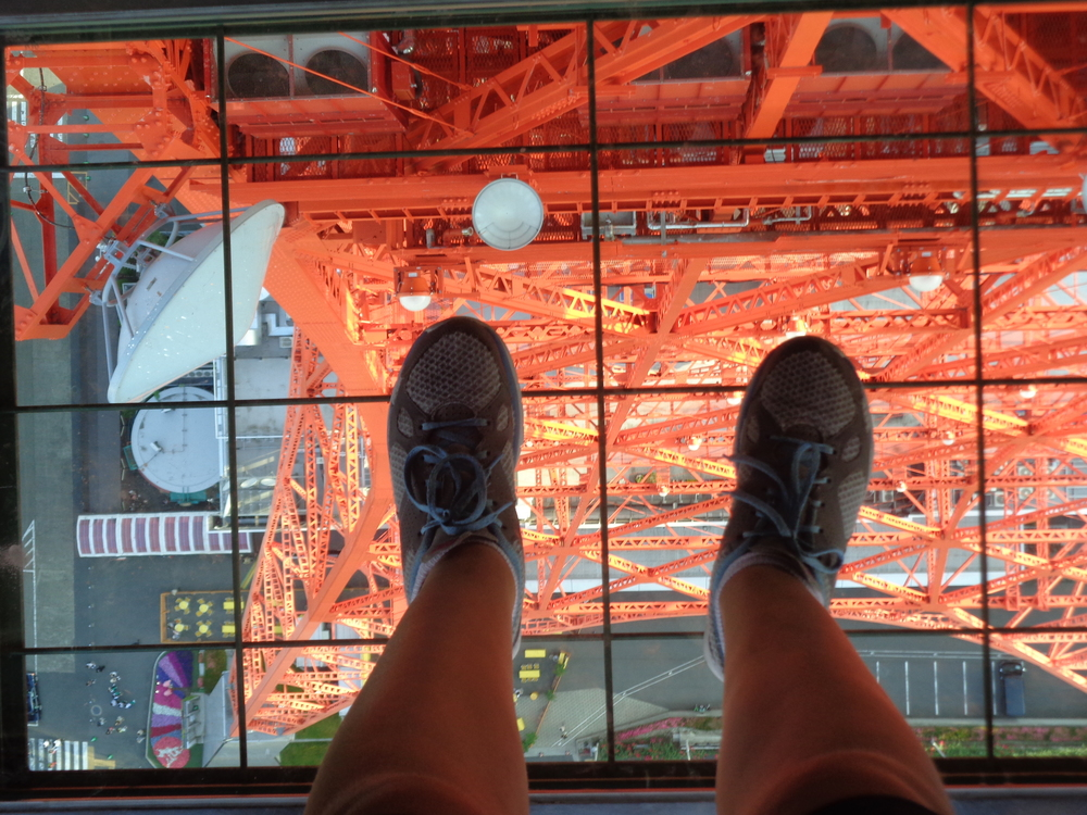 "This is me looking down from the middle level from a ""Viewing Window"" from the Tokyo Tower."