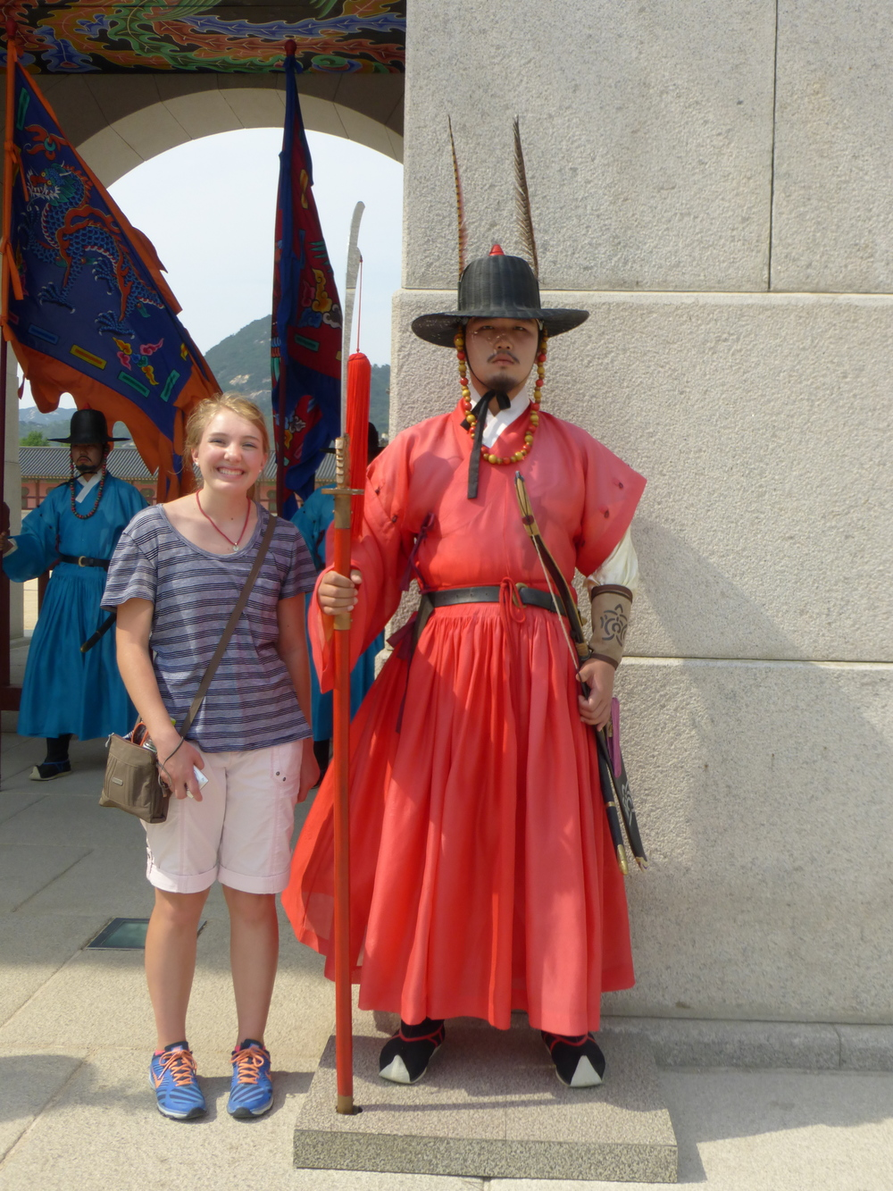 This is me with one of the guards.  Seeing the guards change was one of my favorite things I've seen here in Seoul.