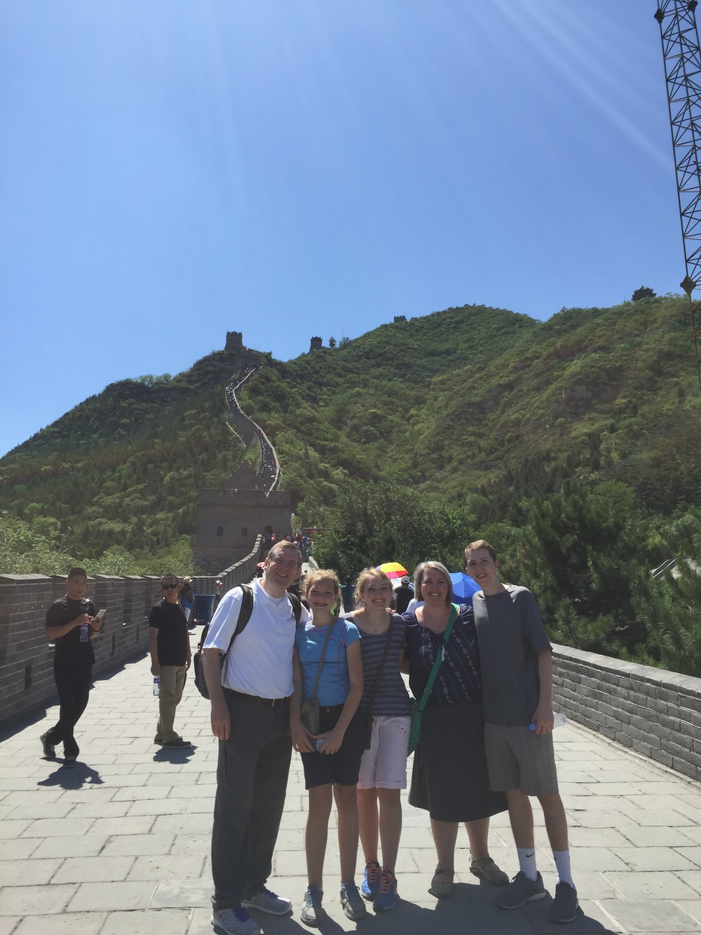 At the bottom of the great wall.  It was crazy steep!  It was more amazing that we ever imagined!