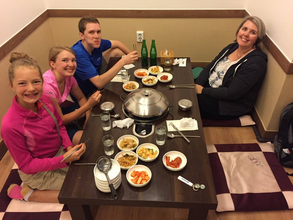 Dinner on the floor in Seoul