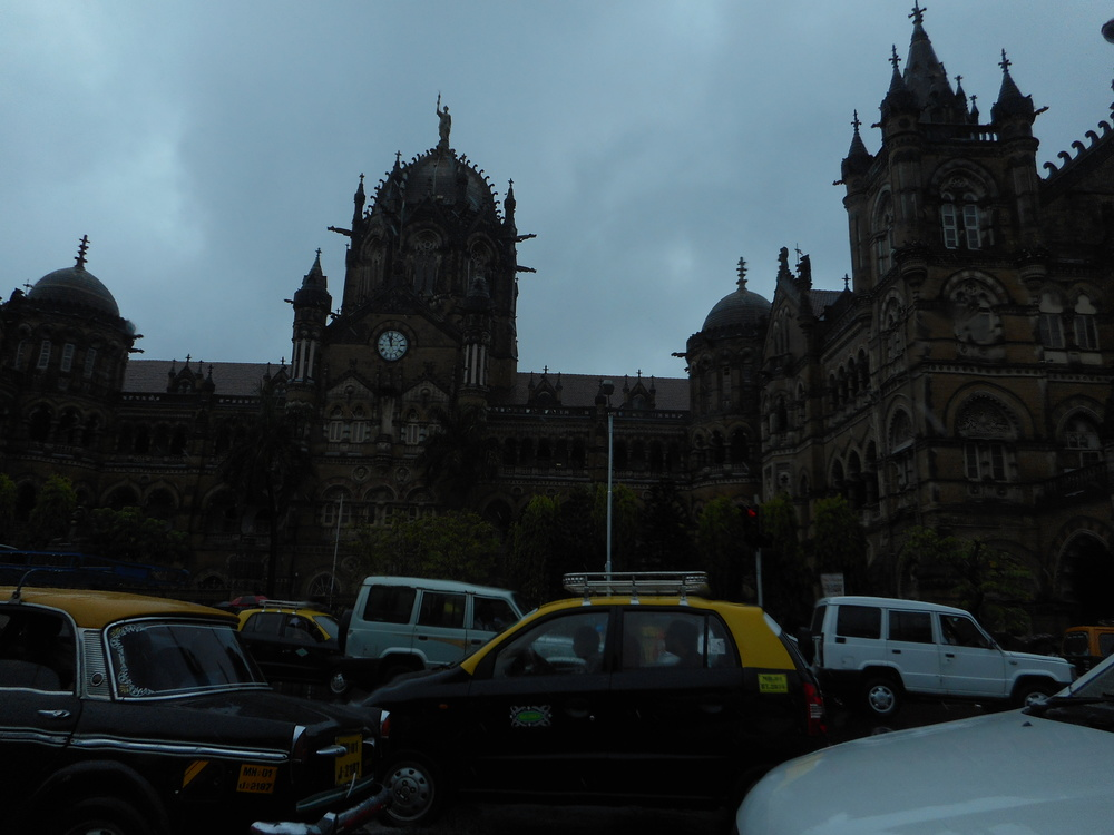 This is the Victoria Terminus, a beautiful train station.