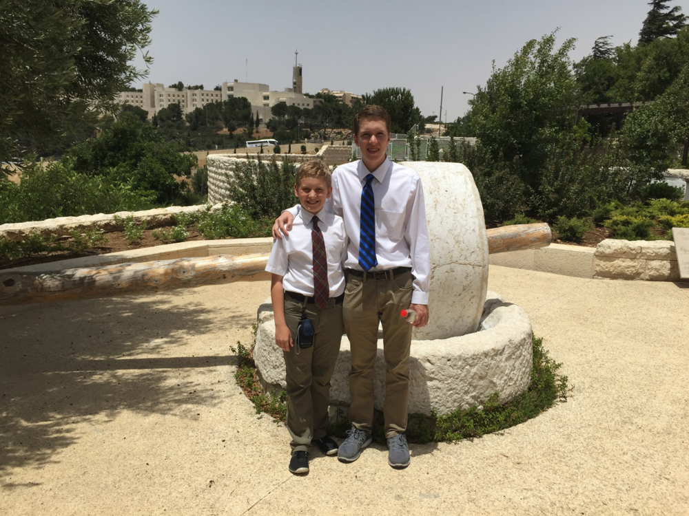 Joseph and Andrew at the Olive Press at the BYU Jerusalem Center