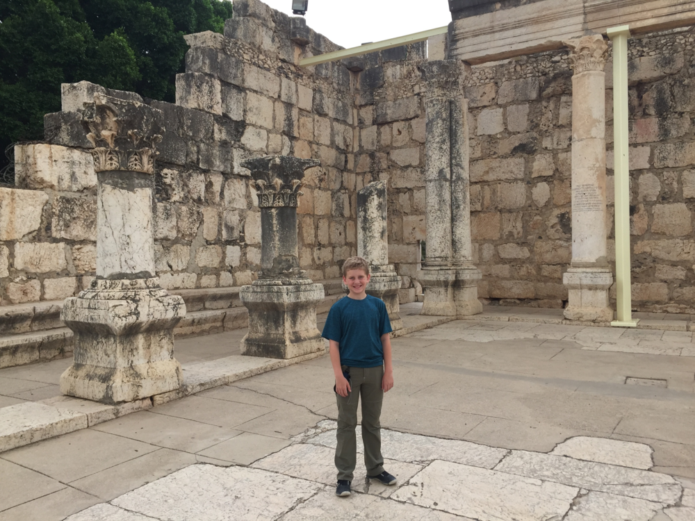 Andrew at the ruins of the synagogue in Capernaum.