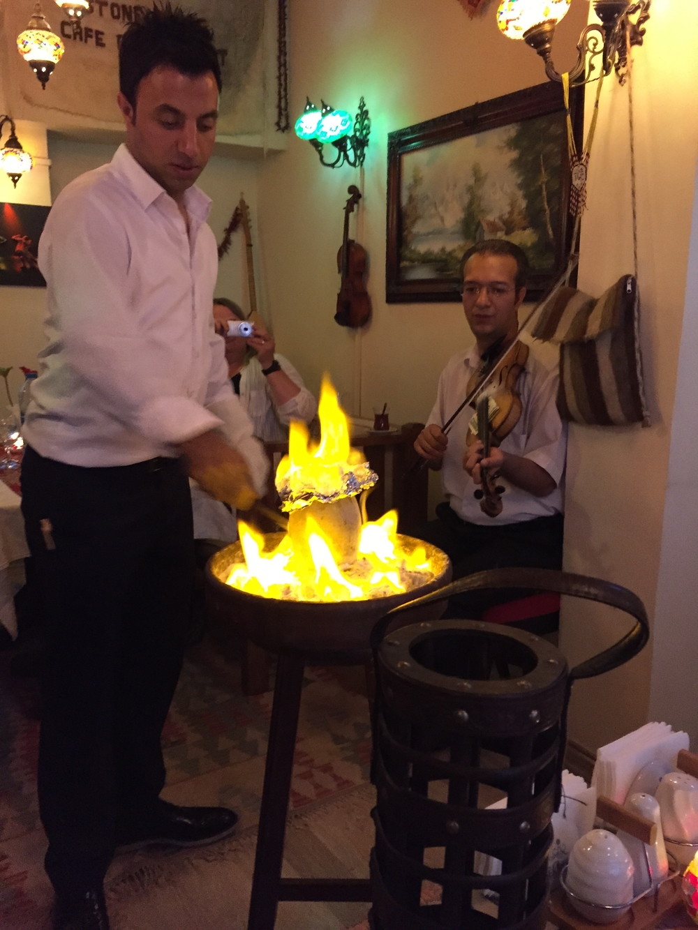 We had dinner at a great Kurdish restaurant.  They cooked the food in a clay pot and broke the pot to serve dinner.