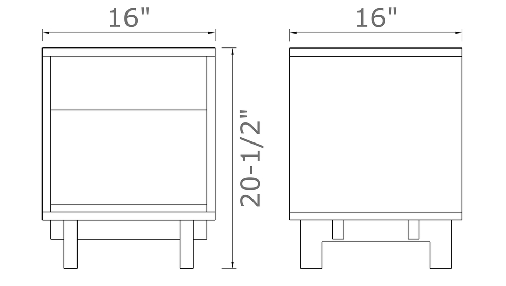 "Ada Side Table in Walnut 20 ½"" high x 16"" wide x 16"" deep $490.00"