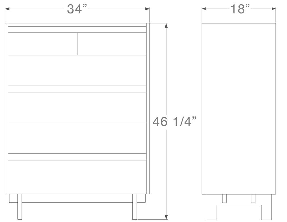 """Ada Dresser - 6 drawer 46 ¼"""" high x 34"""" wide x 18"""" deep $1,940.00"""