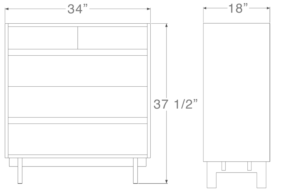 """Ada Dresser - 5 drawer   37 ½   """" high x 34"""" wide x 18  """" deep  $1,650.00"""