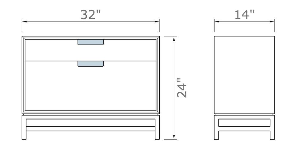 """Forde Nightstand with Door 24"""" high x 32"""" wide x 14"""" deep $780.00"""