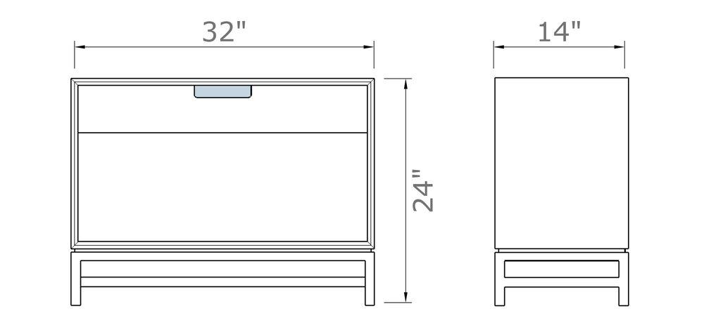 """Forde Nightstand without Door 24"""" high x 32"""" wide x 14"""" deep $710.00"""