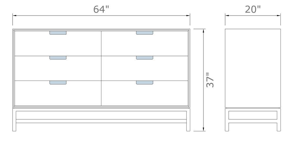 "Forde Wideboy Dresser in Walnut   37"" high x 64"" wide x 20  "" deep  $2,390.00"